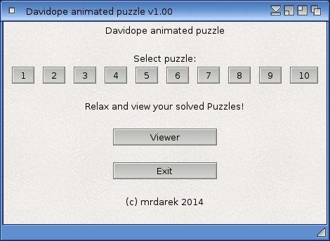Davidope puzzle - menu