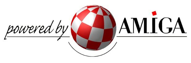 """Powered by Amiga - logo z """"uśmiechniętą twarzą""""."""