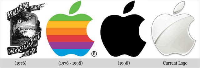 Często zmieniające się loga konkurencji - Apple.