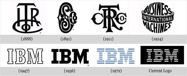 Często zmieniające się loga konkurencji - IBM.