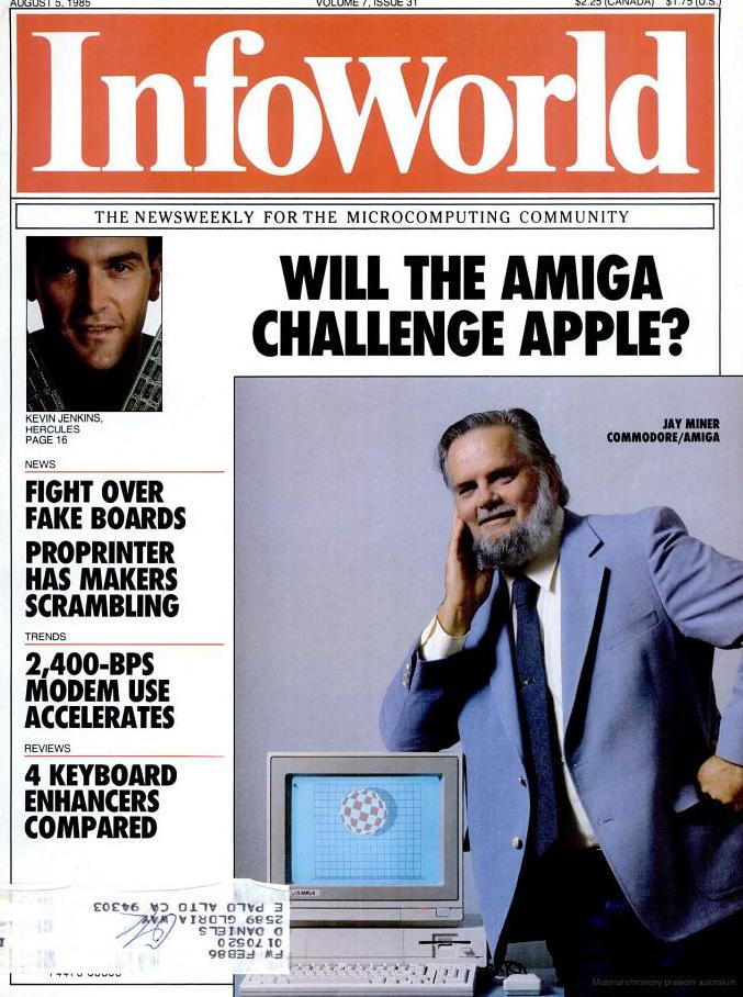 Jay Miner na okładce magazynu Infoworld i obowiązkowy boing w tle