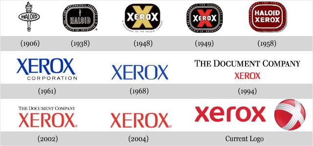 Często zmieniające się loga konkurencji - Xerox.