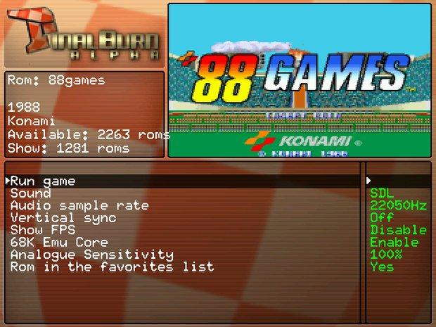 Final Burn - opcje konfiguracyjne dla danej gry