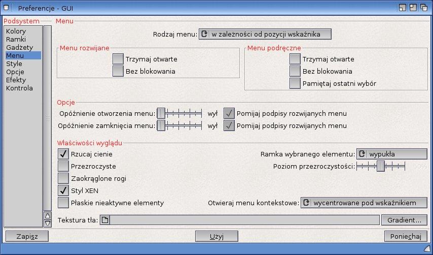 Nowe opcje menu w preferencjach GUI