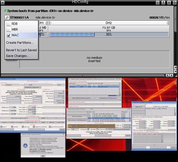 Na górze HDConfig z Morphos, na dole MediaToolBox z AmigaOS 4.1