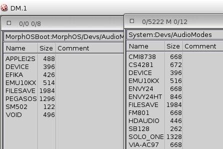 Audiomodes, po lewej MOS po prawej AOS 4