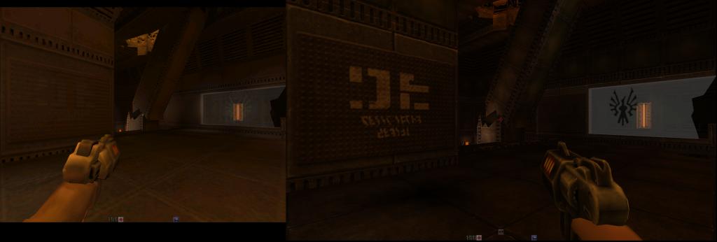Porównanie Quake 2. Po lewej standardowa wersja z Hyperionu, po prawej edycja HD.