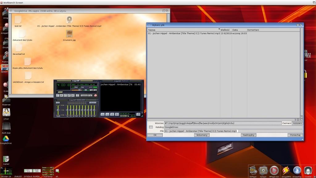 AmigaAMP odtwarzający utwór bezpośrednio z dysku Google.