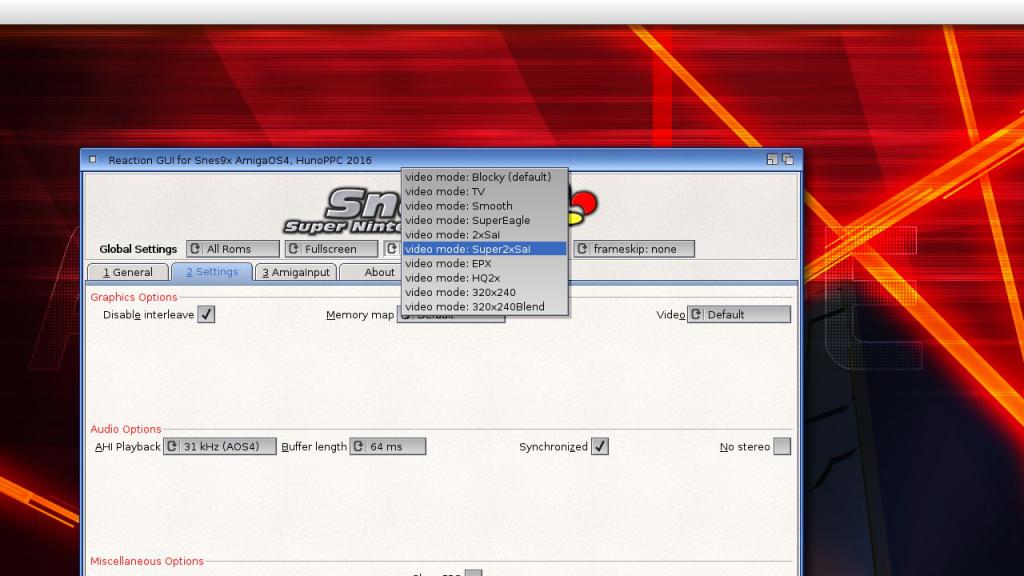 Snes9x - wybór filtrów grafiki